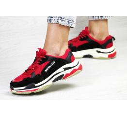 Купить Жіночі кросівки Balenciaga Triple S червоні з чорним