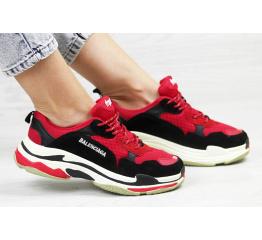 Купить Жіночі кросівки Balenciaga Triple S червоні з чорним в Украине