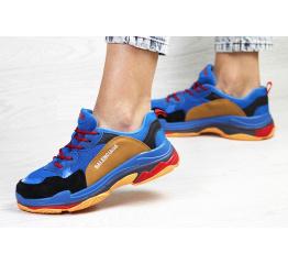 Купить Жіночі кросівки Balenciaga Triple S сині з коричневим