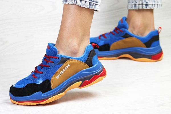 Женские кроссовки Balenciaga Triple S синие с коричневым