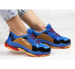 Купить Жіночі кросівки Balenciaga Triple S сині з коричневим в Украине