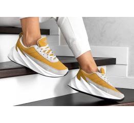 Женские кроссовки на меху Adidas Sharks Fur горчичные
