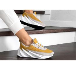 Купить Женские кроссовки на меху Adidas Sharks Fur горчичные