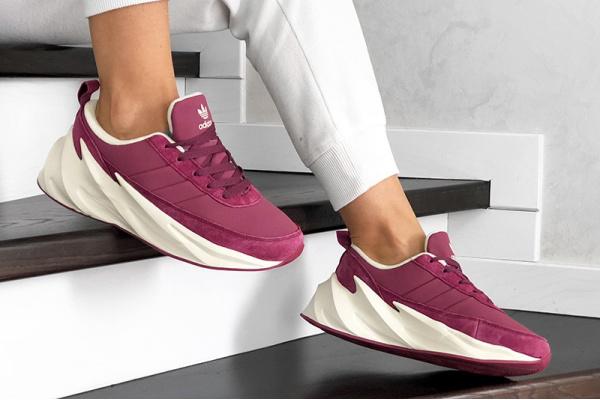 Женские кроссовки на меху Adidas Sharks Fur малиновые