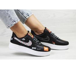 Женские кроссовки Nike Air Force 1 Just Do It черные с белым