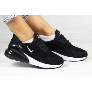 Женские кроссовки Nike Air Max 270 Leather черные с белым