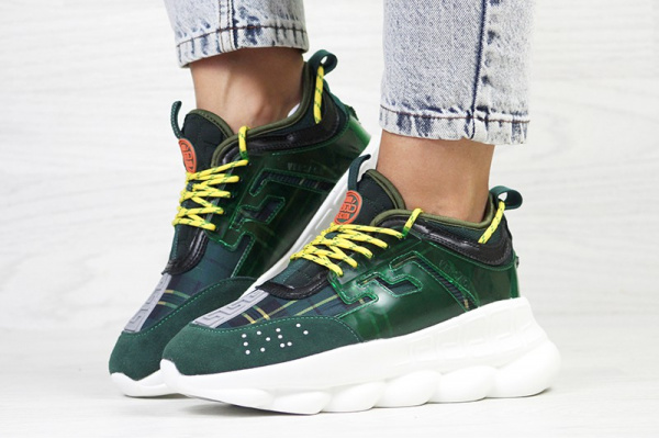 Женские кроссовки Versace Chain Reaction Sneakers зеленые