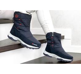 Купить Жіночі чоботи зимові Columbia темно-сині з червоним