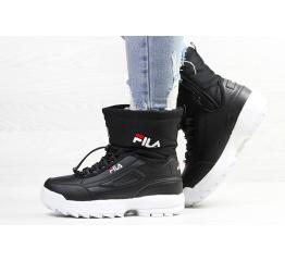 Купить Жіночі чоботи зимові Fila Disruptor Shearling чорні з білим