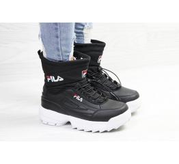 Купить Жіночі чоботи зимові Fila Disruptor Shearling чорні з білим в Украине