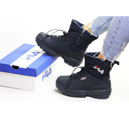 Купить Жіночі чоботи зимові Fila Disruptor Shearling темно-сині в Украине