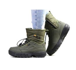 Купить Жіночі чоботи зимові Fila Disruptor Shearling зелені