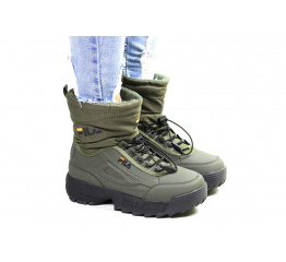 Купить Жіночі чоботи зимові Fila Disruptor Shearling зелені в Украине