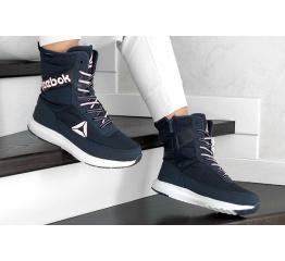 Купить Жіночі чоботи зимові Reebok темно-сині з рожевим