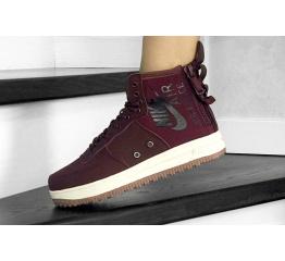 Купить Женские высокие кроссовки Nike SF Air Force 1 Mid бордовые в Украине