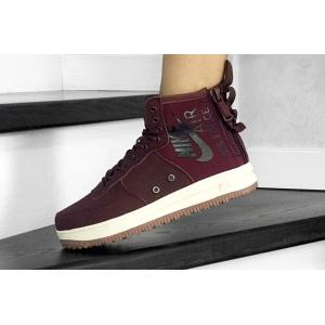 Женские высокие кроссовки Nike SF Air Force 1 Mid бордовые