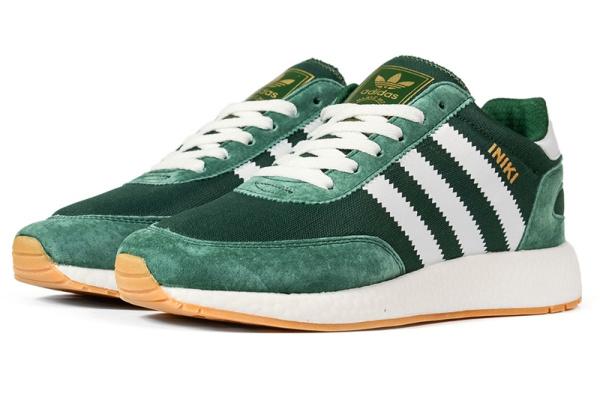 Мужские кроссовки Adidas Iniki Runner зеленые