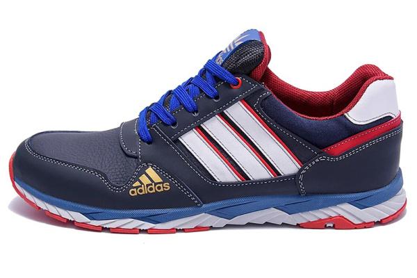 Мужские кроссовки Adidas синие с белым и красным