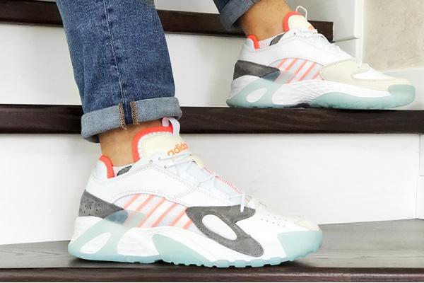 Мужские кроссовки Adidas Streetball белые с серым и оранжевым