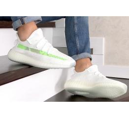 Купить Мужские кроссовки Adidas Yeezy Boost 350 V2 белые с салатовым в Украине