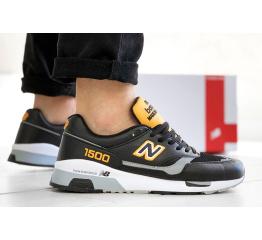 Купить Мужские кроссовки New Balance 1500 черные с белым и желтым