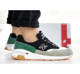Мужские кроссовки New Balance 1500 серые с зеленым и черным