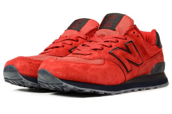 Мужские кроссовки New Balance 574 красные с темно-синим