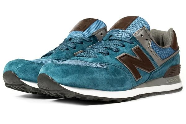 Мужские кроссовки New Balance 574 синие с коричневым