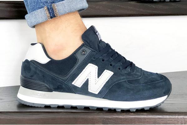 Мужские кроссовки New Balance 574 темно-синие с белым