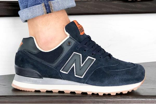 Мужские кроссовки New Balance 574 темно-синие с оранжевым