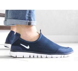 Купить Мужские кроссовки Nike Air Free Run 3.0 Slip-On темно-синие с белым