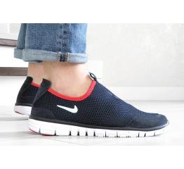 Купить Мужские кроссовки Nike Air Free Run 3.0 Slip-On темно-синие с белым и красным