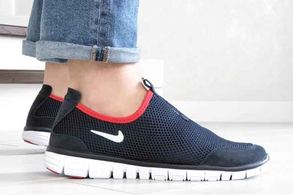Мужские кроссовки Nike Air Free Run 3.0 Slip-On темно-синие с белым и красным