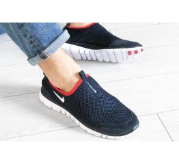 Купить Мужские кроссовки Nike Air Free Run 3.0 Slip-On темно-синие с белым и красным в Украине