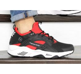 Купить Чоловічі кросівки Nike Air Huarache х Fragment Design чорні з білим и красным в Украине