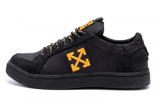 Мужские кроссовки Off-White черные с оранжевым