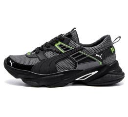 Купить Мужские кроссовки Puma серые с зеленым