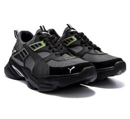 Купить Мужские кроссовки Puma серые с зеленым в Украине