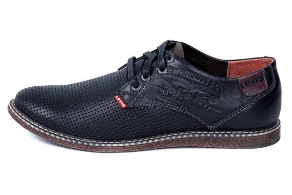 Мужские туфли Levi's с перфорацией черные