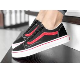 Купить Женские кеды Vans Old Skool черные с красным