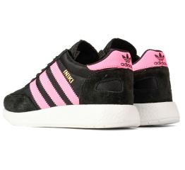Купить Женские кроссовки Adidas Iniki Runner черные с розовым в Украине