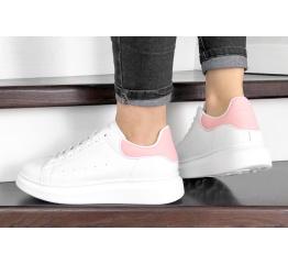 Купить Жіночі кросівки Alexander McQueen Oversized Sole Low Sneaker білі з рожевим в Украине