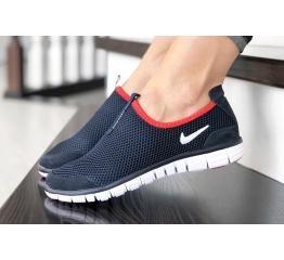 Купить Женские кроссовки Nike Air Free Run 3.0 Slip-On темно-синие с белым и красным