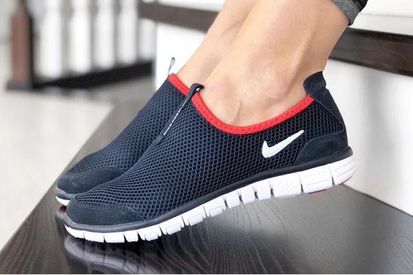 Женские кроссовки Nike Air Free Run 3.0 Slip-On темно-синие с белым и красным