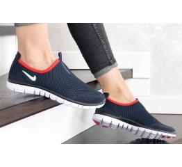 Купить Женские кроссовки Nike Air Free Run 3.0 Slip-On темно-синие с белым и красным в Украине