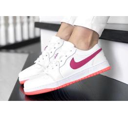 Купить Женские кроссовки Nike Air Jordan 1 Low белые с малиновым