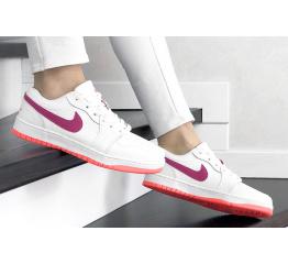 Купить Женские кроссовки Nike Air Jordan 1 Low белые с малиновым в Украине