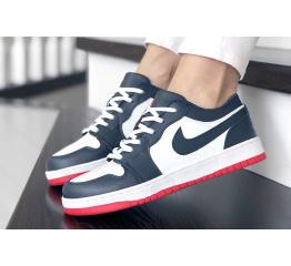 Купить Женские кроссовки Nike Air Jordan 1 Low белые с темно-синим и красным