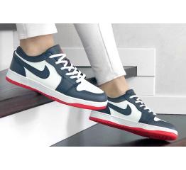 Купить Женские кроссовки Nike Air Jordan 1 Low белые с темно-синим и красным в Украине