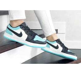 Купить Женские кроссовки Nike Air Jordan 1 Low бирюзовые с белым и черным в Украине